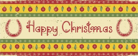 Vector christmas decoration background with horseshoes and text Vector
