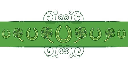 St. Patricks Day abstract background with horseshoes decoration Vector
