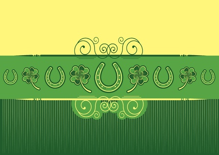 St. Patrick's Day abstract background with horseshoes decoration Vector