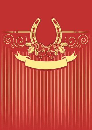Horseshoe on red christmas background with holly berry decoration Stock Vector - 16504581