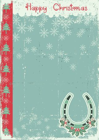 vintage christmas card on old paper background with lucky horseshoe Stock Vector - 16504593