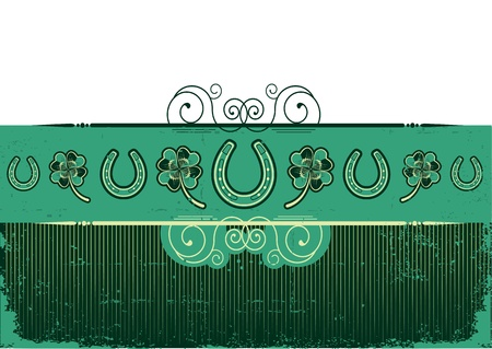 Vintage St. Patrick's Day abstract background with horseshoes decorationon old texture Vector