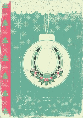 vintage christmas card on old paper background with ball and lucky horseshoe Stock Vector - 16504592