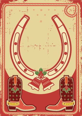 christmas card background with lucky horseshoe and cowboy boots on old paper texture Vector