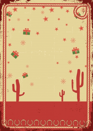 Cowboy christmas card with rope frame for text on vintage poster  Vector