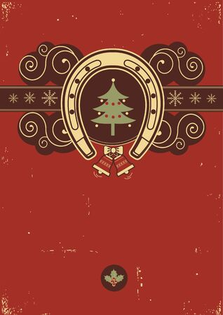 Red Christmas background with horseshoe  Vector