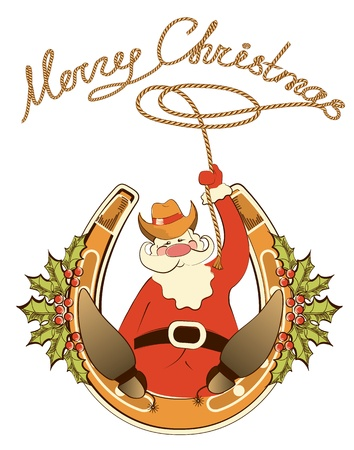 Santa in cowboy shoes and lasso sit on lucky horseshoe. Illustration