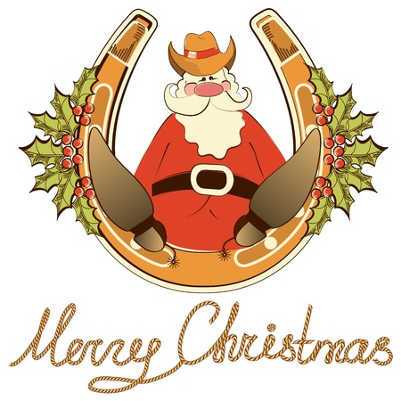 cow bells: Santa in cowboy shoes sit on lucky horseshoe. Illustration