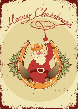 Santa sit on horseshoe with cowboy lasso on vintage poster  Vector