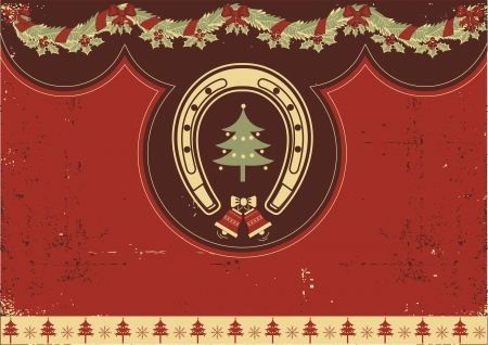 Vintage red Christmas background with horseshoe on old texture Vector