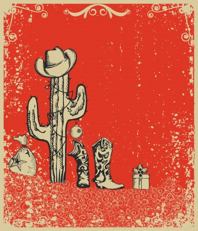 Christmas card with cowboy boots and cactus on old grunge paper Vector