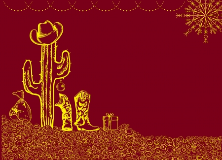 Cowboy christmas card with holiday elements and decoration for text Vector