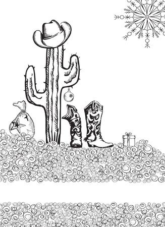 Cowboy christmas card on white background.Graphic image Illustration
