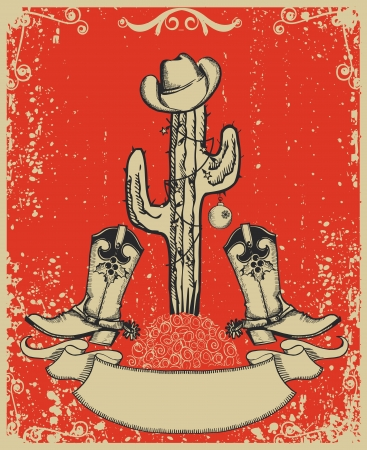 cowboy boots: Grunge red christmas card with cowboy boots and cactus on old paper
