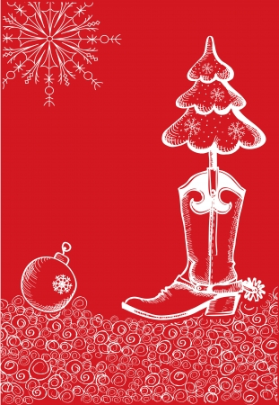 red christmas card with cowboy boot and fir-tree