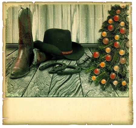 cowboy background: Vintage Cowboy christmas card.American background on old paper for text Stock Photo