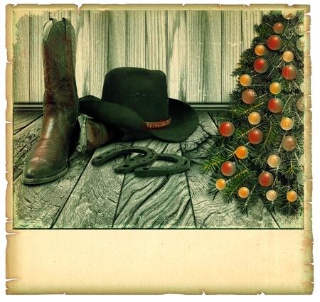 botas de navidad: Vintage Cowboy Navidad de fondo card.American en el papel viejo para el texto