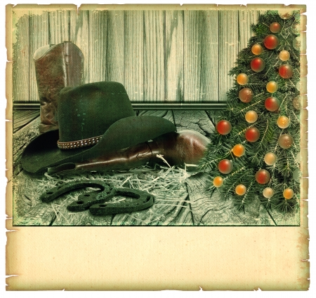 cowboy background: Christmas cowboy background card on old paper