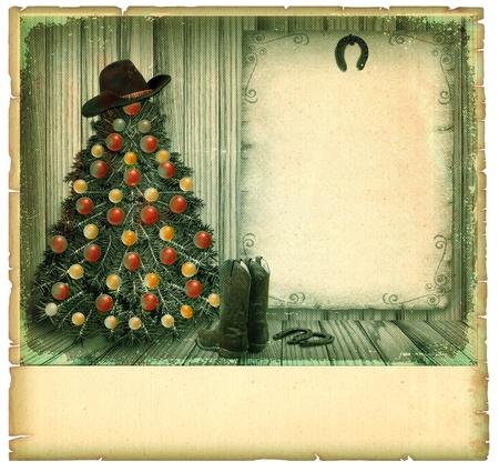 botas de navidad: Cowboy de Navidad fondo de la vendimia card.American