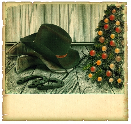 Vintage Cowboy christmas card.American background on old paper for text Stock Photo