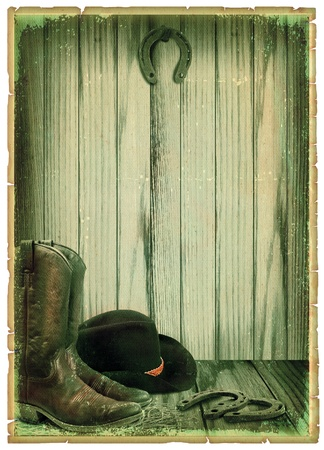 barn boots: Retro Cowboy background on antique paper for text