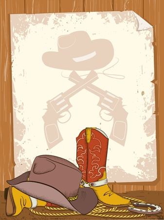 Cowboy background with american boots and old paper Vector