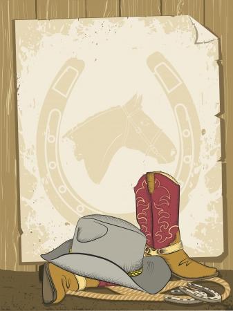 rodeo americano: Cowboy fondo con botas y sombrero imagen Vintage