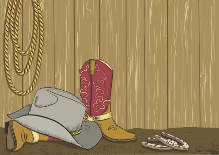 cowboy background: Cowboy boots and hat Vector color background Illustration