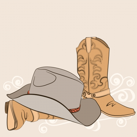old cowboy: Cowboy boots and hat for design American western clothes