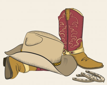 Cowboy boots and hat for design American western elements Illustration