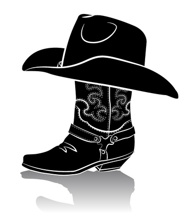 boots: Cowboy boot and western hat.Black graphic image on white background Illustration