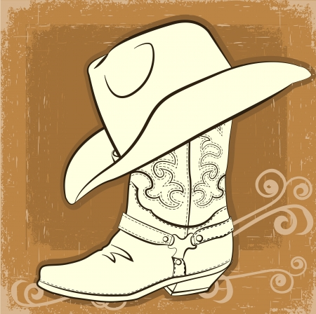 Cowboy boot and hat with vintage background