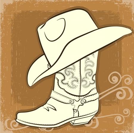 botas vaqueras: Cowboy de arranque y el sombrero con el fondo de la vendimia Vectores