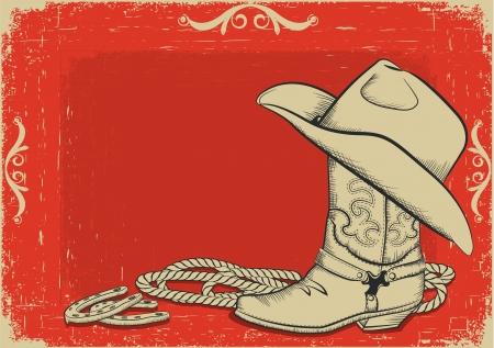 vaquero: Roja Americana oeste fondo Vectores