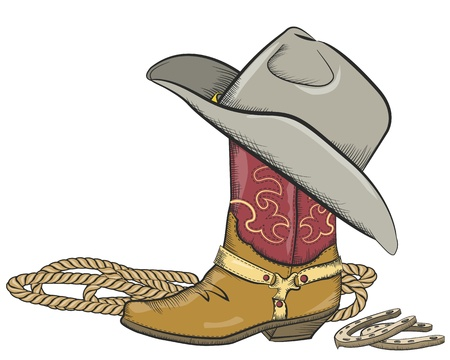 cowboy: Cowboy boot with western hat isolated