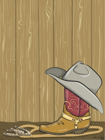 Cowboy background with boot and western hat  Vector
