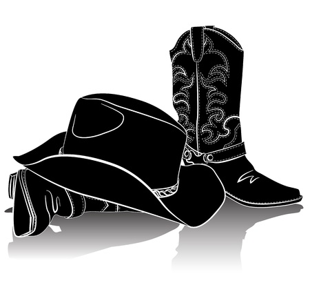 boots: Cowboy boots and hat.Grunge background for text Illustration