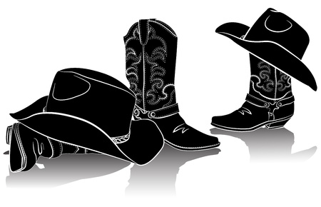 cowboy: cowboy boots and western hats.Black graphic image on white
