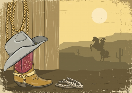 vintage cowboy background on old paper  Illustration