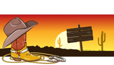Western image with cowboy clothes and desert landscape for design Vector