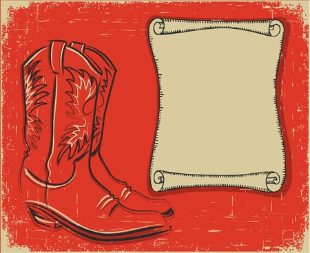 Cowboy boots and scroll paper background for text Stock Vector - 17018824