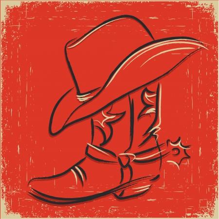 western background: Bota de vaquero y sombrero occidental. Scetch ilustraci�n sobre fondo rojo