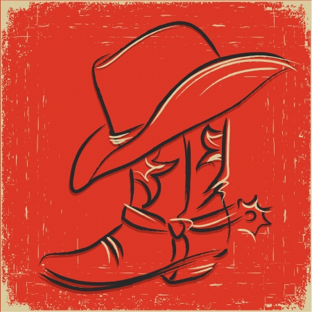 cappello cowboy: Stivali da cowboy e cappello da cowboy. Scetch illustrazione su sfondo rosso