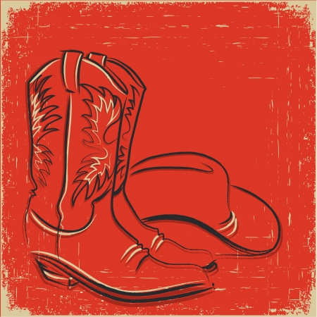 old cowboy: Cowboy boots and western hat .Sketch illustration