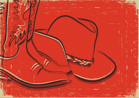 old cowboy: Cowboy boots and western hat .Sketch vector illustration Illustration