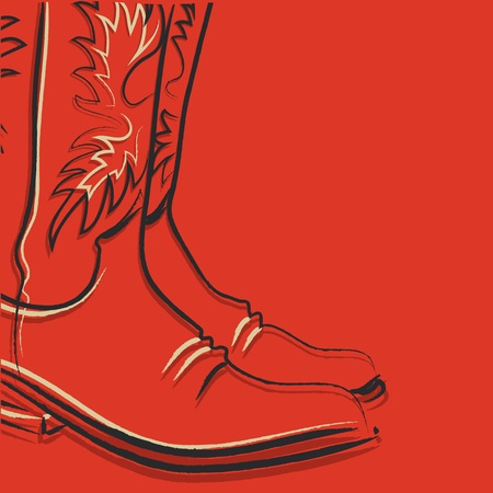 old cowboy: Cowboy boots on red background for design Illustration