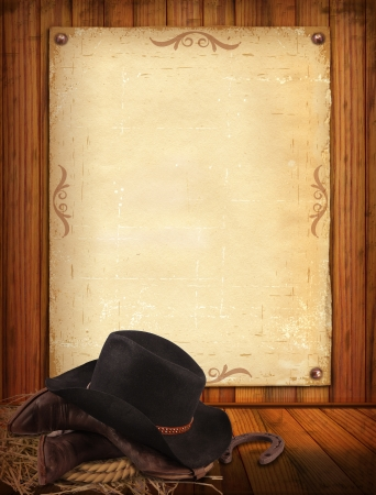 Western background with cowboy clothes and old paper photo