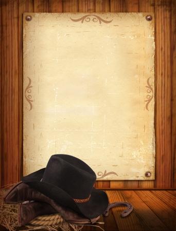 country: Westerse achtergrond met cowboy kleding en oud papier Stockfoto