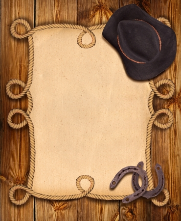 western usa: cowboy background with rope frame and western clothes for design