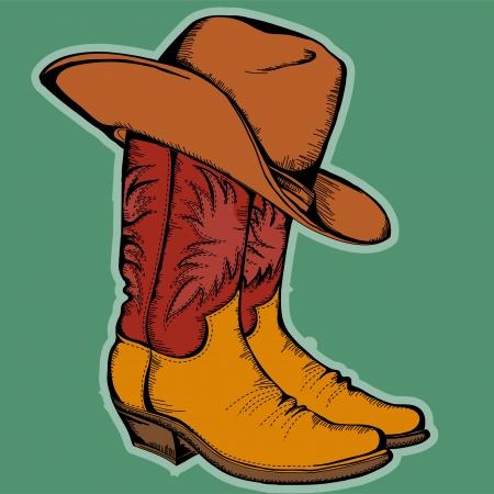 botas vaqueras: Botas de vaquero y sombrero aislados ilustraci�n en color Vectores
